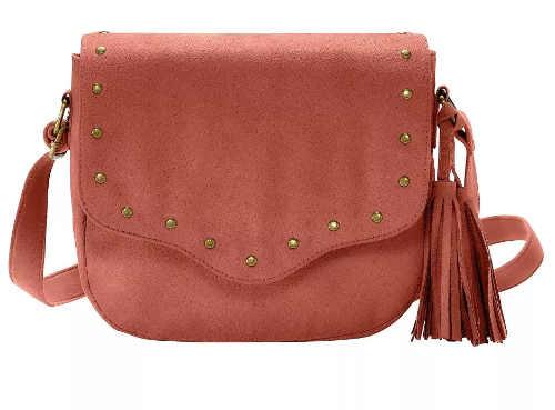 Levná dámská kabelka ze syntetické semišové kůže