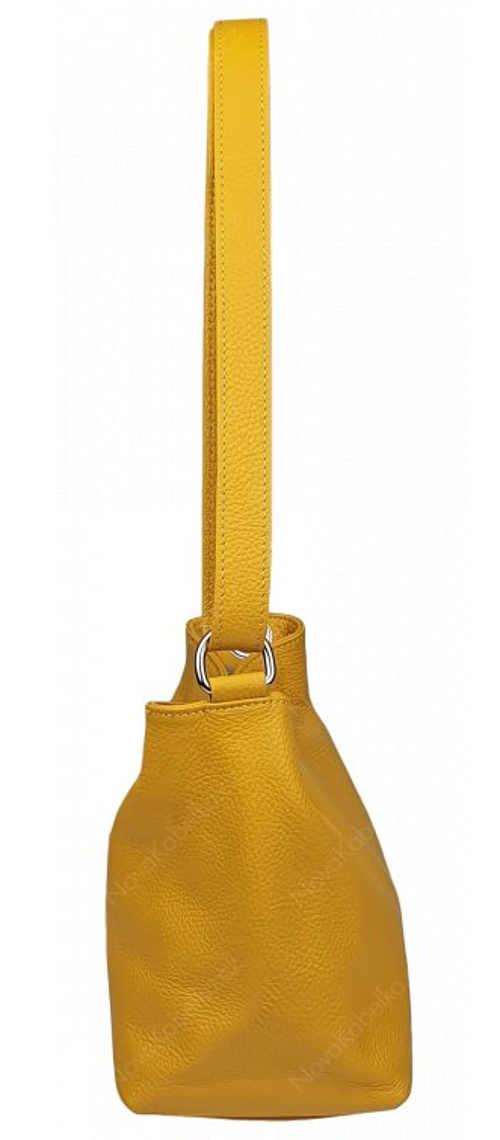 Žlutá kožená kabelka uzavíratelná na zip