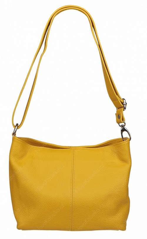 Žlutá kožená dámská kabelka přes rameno