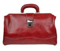 Červená kožená kabelka do ruky - doktorská aktovka