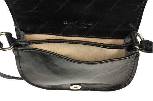 Jednoduchá kožená černá kabelka