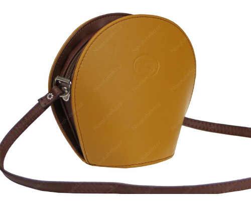 Menší žluto-hnědá crossbody kabelka z pravé kůže Gialla Scura Marrone