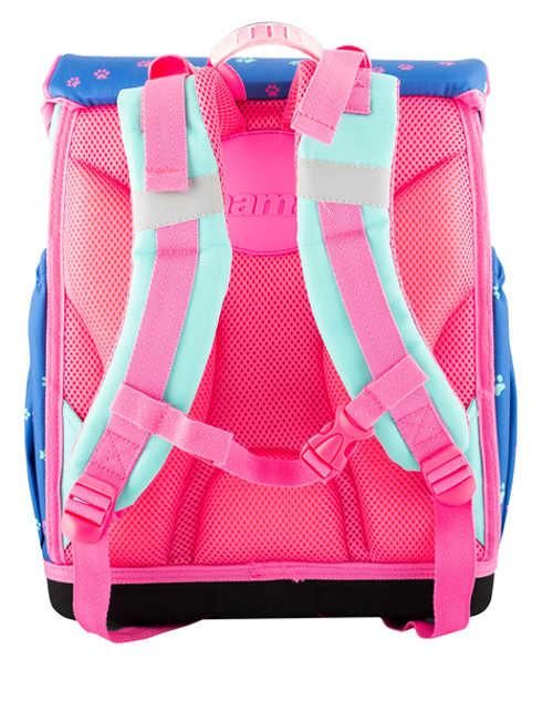 Modro růžová školní aktovka s měkce polstrovanými zády