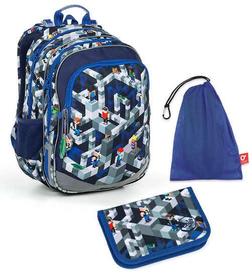 Školní batoh Topgal ELLY v sadě s penálem a modrým pytlíkem na přezůvky