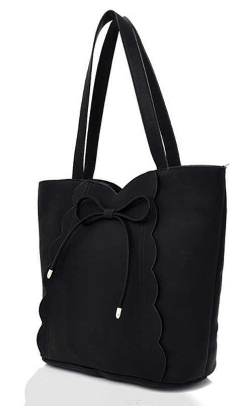 Černá shopper taška s ozdobnou mašlí