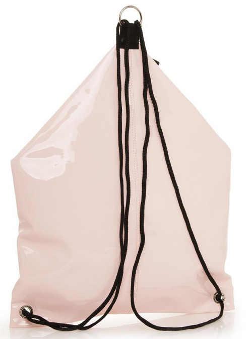 Lesklý růžový dámský batoh ze syntetické kůže