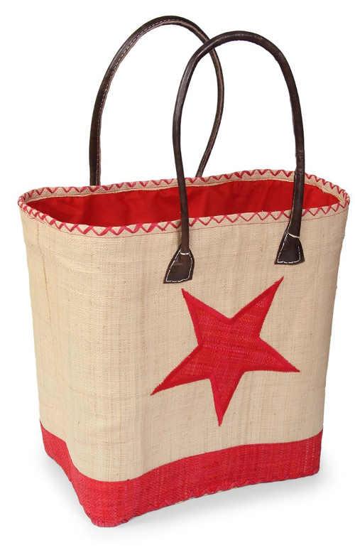 Velká béžová plážová taška s červenou hvězdou