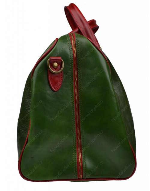 Celorozepínací kožená cestovní taška