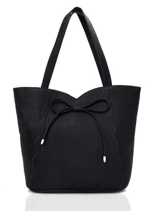 Černá dámská shopper kabelka ze syntetické kůže