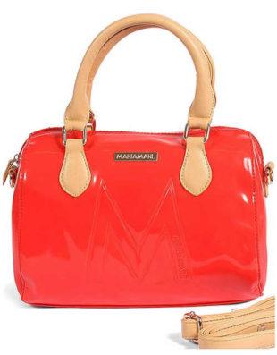 Červená lakovaná kabelka do ruky Maria Mare