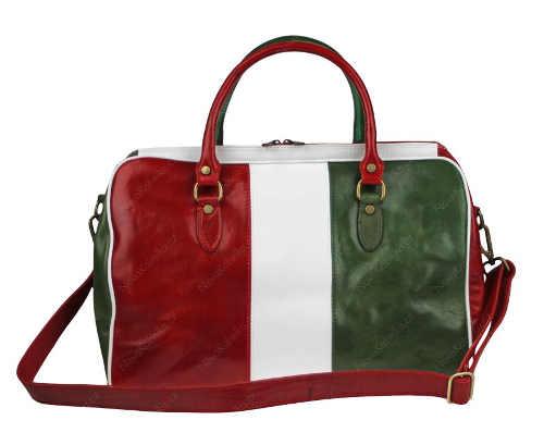 Červeno zeleno bílá dámská cestovní taška