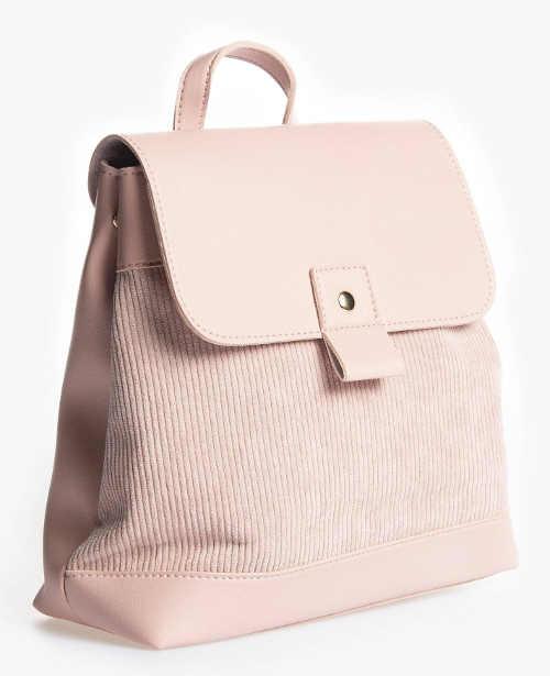 Dámský kožený batoh kombinace s manžestrovou látkou
