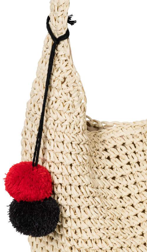 Háčkovaná nákupní taška přes rameno s ozdobnými bambulkami