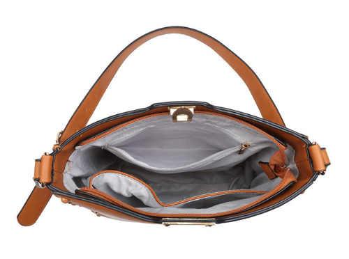 Kožená kabelka na zip a kovovou sponu