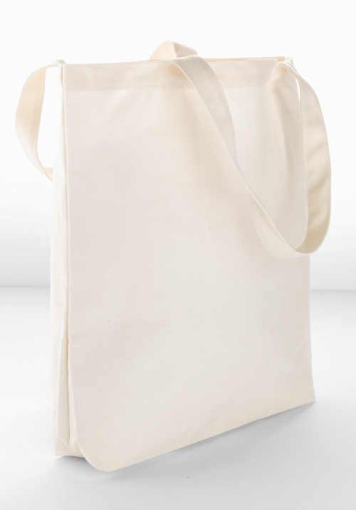 Levná béžová velká plátěná taška