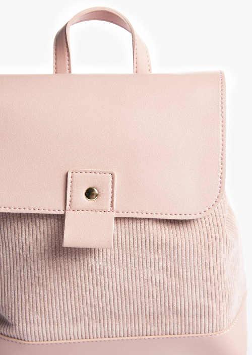 Levný kožený batoh růžové barvy