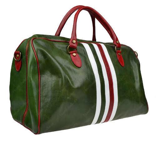 Luxusní zelená cestovní taška z kůže