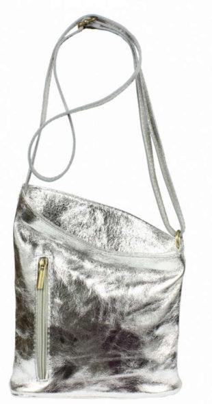 Menší kabelka přes rameno ze stříbrné kůže