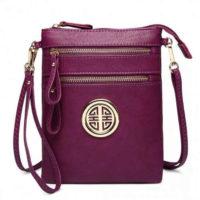 Pohodlná malá fialová crossbody kabelka s odnímatelným popruhem