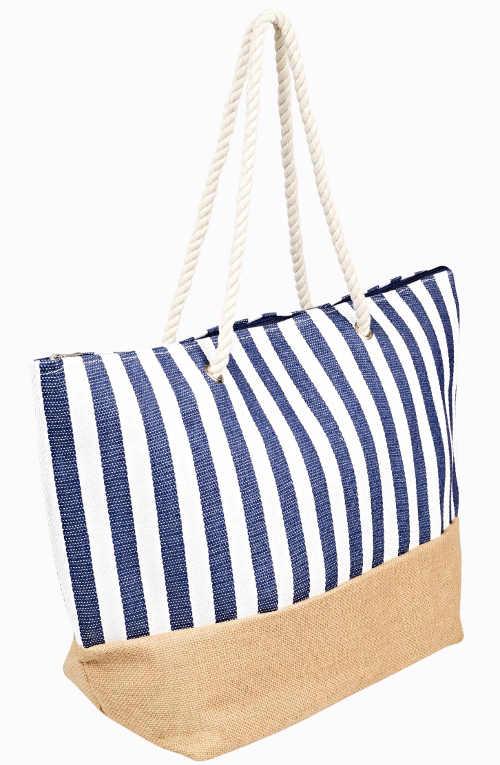 Pruhovaná plážová taška s provazovými ušima