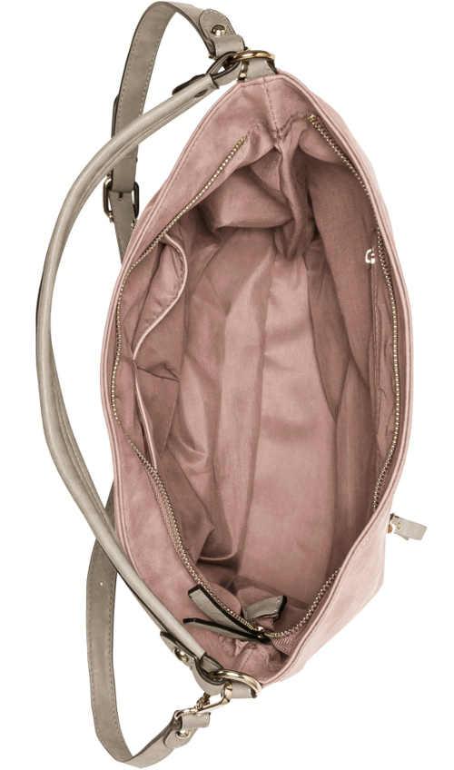 Růžová kožená kabelka vhodná do města i na nákup