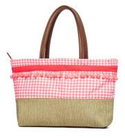 Růžová plážová taška s kostkovaným vzorem