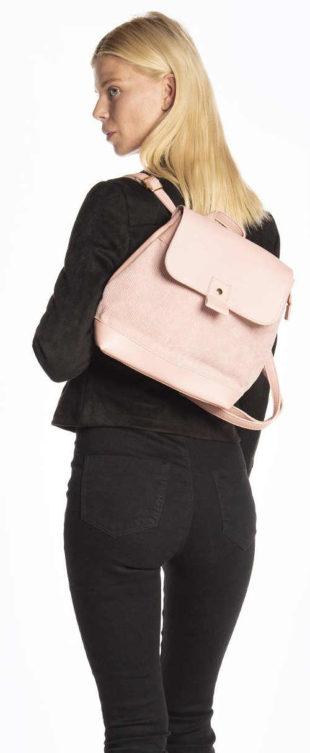 Růžový městský batoh s manšestrovým detailem