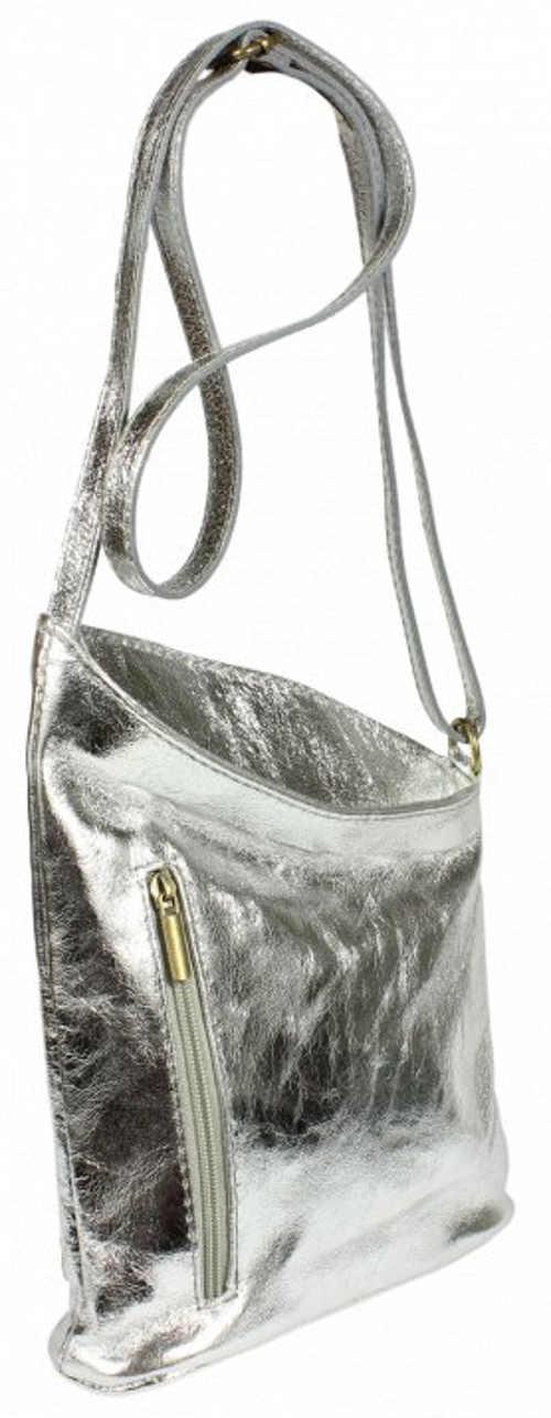 Stříbrná kabelka z pravé kůže
