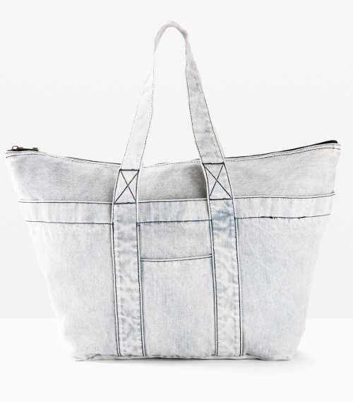 Velká džínová nákupní kabelka světle modré barvy