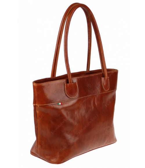 Hnědá kožená kvalitní kabelka