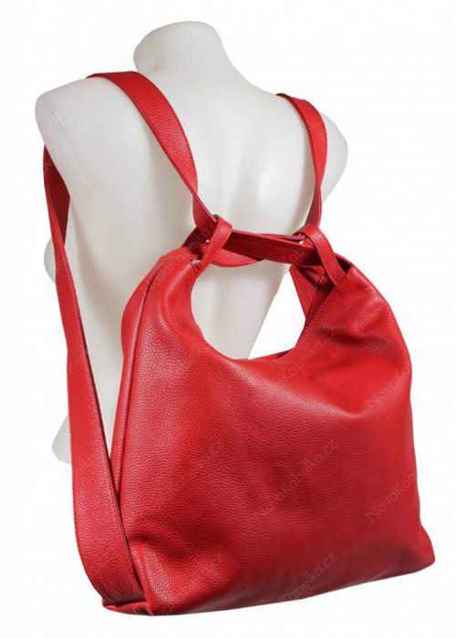 Kožená kabelka nositelná jako batoh
