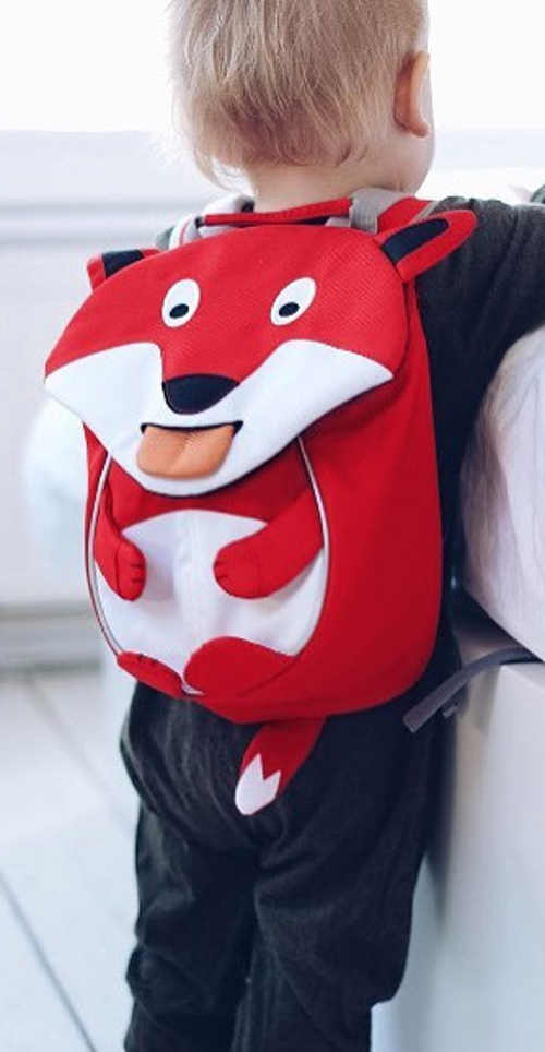 Červený dětský batoh do školky lišák