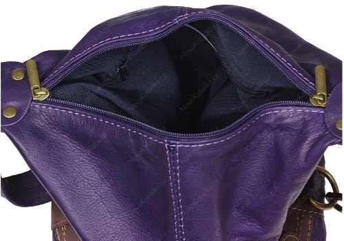Fialová kožená dámská kabelka sleva