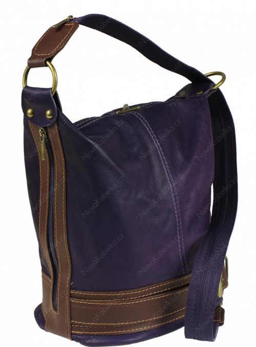 Fialovo hnědá dámská kožená taška přes rameno