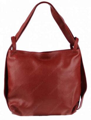 Krásná kožená kabelka s jednoduchým designem v červené barvě