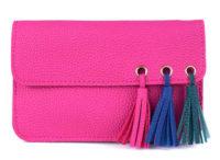 Malá růžová dámská kabelka do ruky se střapci
