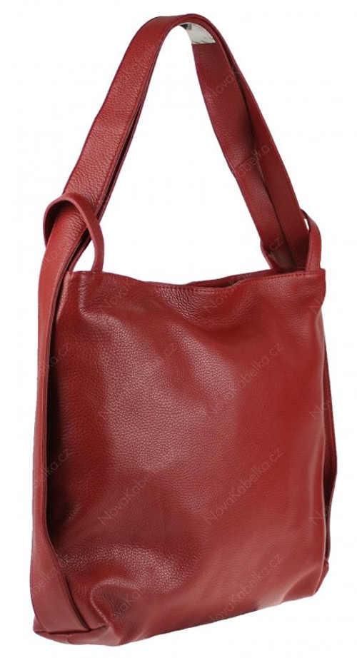Velká kožená červená kabelka přes rameno