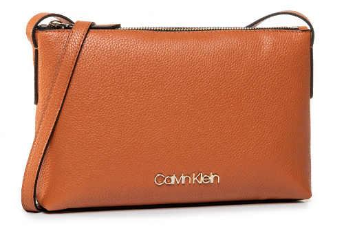 Hnědá kožená kabelka CALVIN KLEIN Neat Crossbody