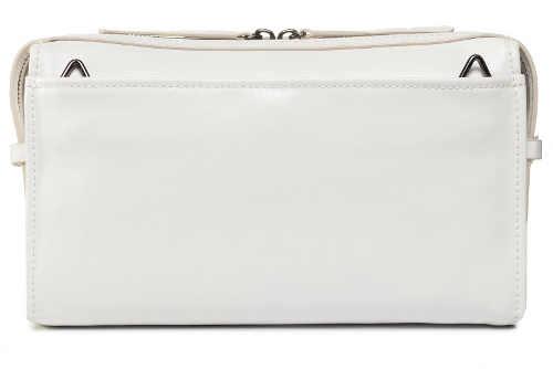 Jednobarevná bílá malá kabelka z pravé kůže