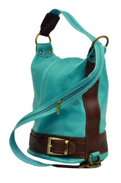 Světle modrá kožená dámská kabelka přes rameno