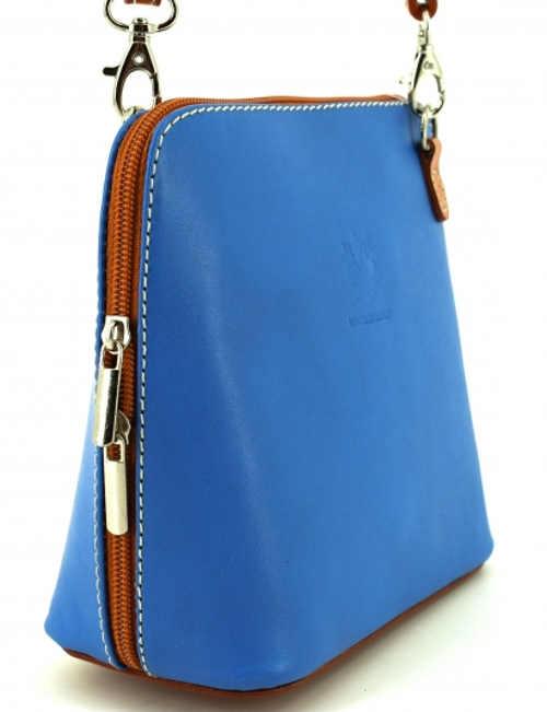 Dámská malá modrá kožená crossbody kabelka Arteddy