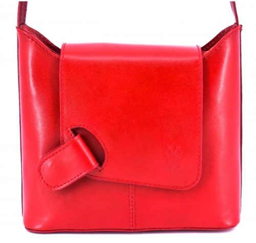 Jasně červená sportovní dámská kožená kabelka