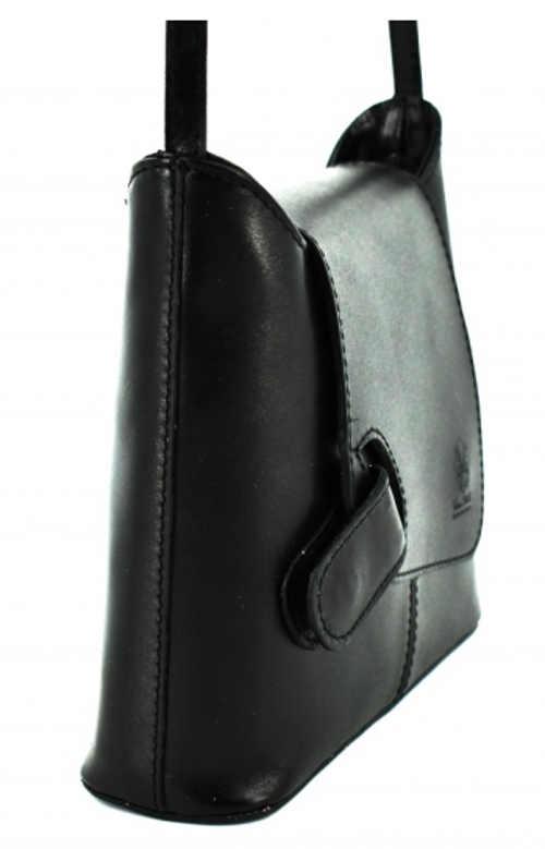Sportovní elegantní černá kožená crossbody kabelka