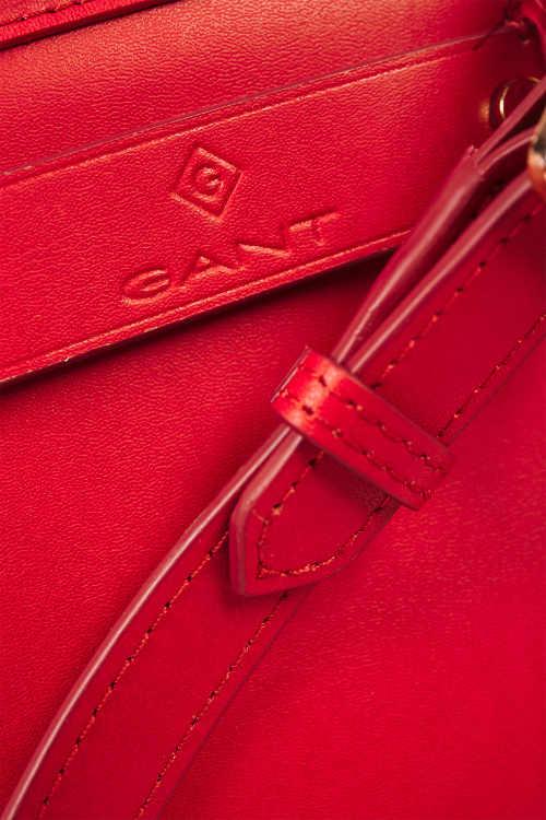 Sytě červená dámská kožená kabelka Gant