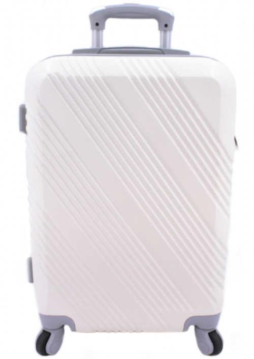 Bílý palubní skořepinový kufr na kolečkách