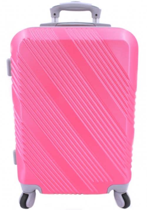 Růžový skořepinový palubní kufr se čtyřmi kolečky