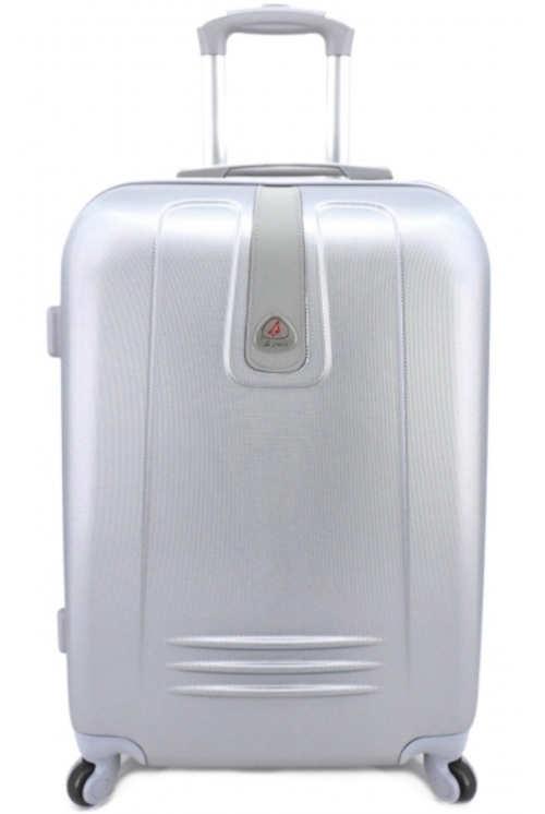 Stříbrný skořepinový cestovní kufr na kolečkách