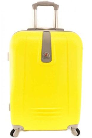 Žlutý cestovní kufr Agrado na čtyřech kolečkách